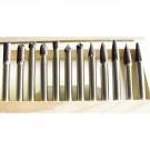 """12 PIECE 1/4"""" SHANK DOUBLE CUT CARBIDE BURR SET (3000-0012)"""