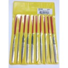 10 PIECE DIAMOND NEEDLE FILE SET / MEDIUM-D126   OAL 5 1/2  WITH 2 INCH DIAMOND | 3000-0062